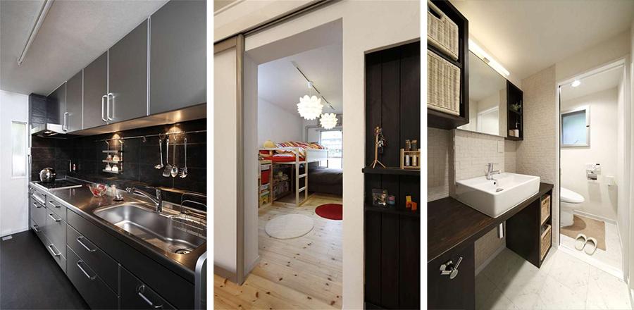 キッチン、子供部屋、サニタリーの写真です。